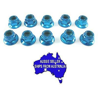 3mm steel anodise light blue flanged lock nuts for use with Tamiya HPI 1:10 RC