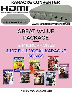 Hdmi And Rca Karaoke Convertor / 107 Full Vocal Songs With 2 Microphones