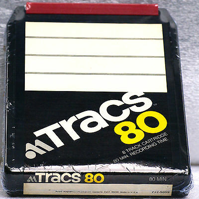 8 TRACK CARTRIDGE TAPE BLANK UNRECORDED 80 minutes Audio Magnetics TRACS80