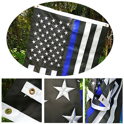 3'x5' FT Thin Blue Line American Police Flag w/ Embroidered Stars Sewn Stripes