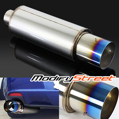 """4"""" Outlet/2.5"""" Inlet Jdm N1 Style Performance Titanium Burnt Tip Muffler Exhaust"""
