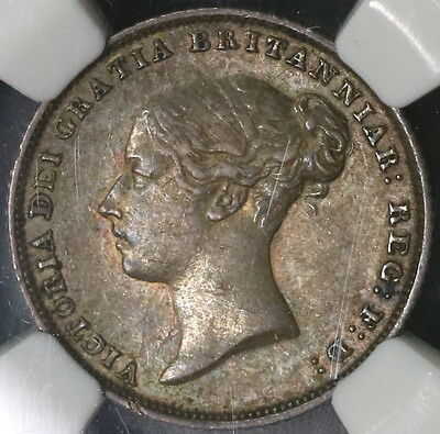 1853 NGC AU 53 DATE ERROR Victoria Silver 6 pence GREAT BRITAIN Coin (16111523C)