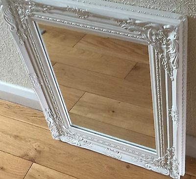 Shabby Chic Off White Ornate Wall Mirror Good Used