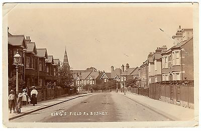 R.p. Postcard Woman-Children-St Matthews Church-King`s Field Road-Bushey 1911