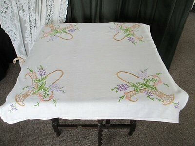 Vintage Tablecloth - Hand Embroidered Baskets Of Flowers