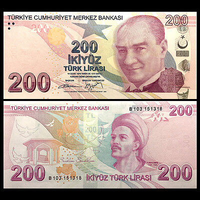 Turkey 200 Lira, 2009(2012), P-227b, UNC