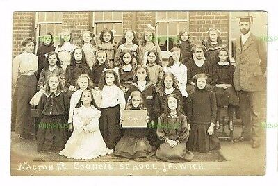 Old Postcard Nacton Road Council School Group Ipswich Suffolk Real Photo C.1910