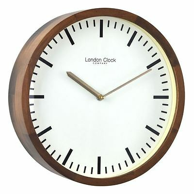 London Clock Co 32 cm Walnut Finish Wooden Case Wall Clock