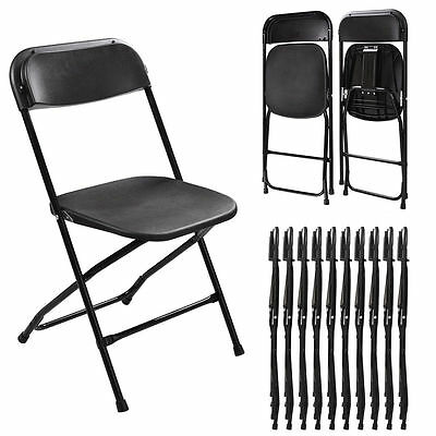 New (10 PACK) Commercial Wedding Quality Stackable Plastic Folding Chairs Black