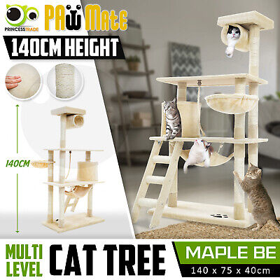 Cat Tree Scratching Post Scratcher Pole Gym House Furniture Multi Level 141cm BE