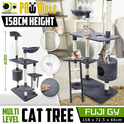 Cat Tree Scratching Post Scratcher Pole Gym House Furniture Multi Level 158cm GY