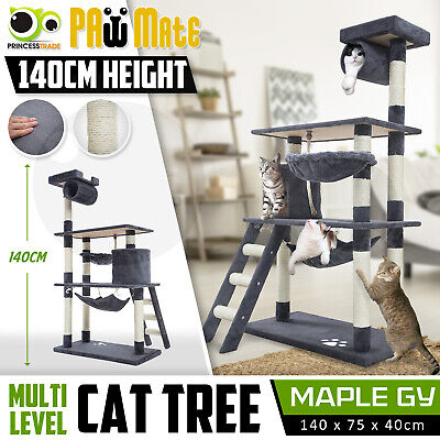 Cat Tree Scratching Post Scratcher Pole Gym House Furniture Multi Level 140cm GY