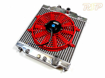 """Universal Small High Flow Alloy Radiator & Thin 10"""" Red Fan Ideal For Kit Car"""
