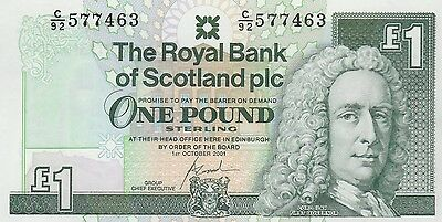 2001 £1 One Pound The Royal Bank Of Scotland Note  Uncirculated 463