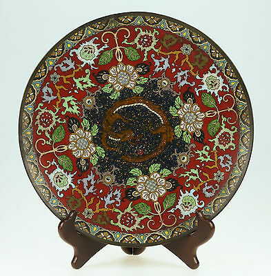 Antique Japanese Meiji Cloisonne Plate With Dragon