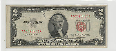 1953 B $2 Two Dollars Usa Red Seal  Note Circulated 486A