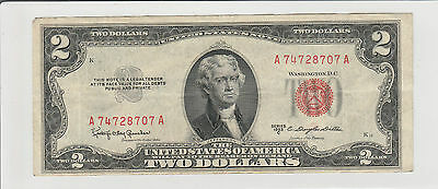 1953 C $2 Two Dollars Usa Red Seal  Note Circulated 707A