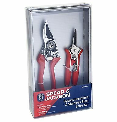 Spear & Jackson Bypass Secateurs And Floral Snips Set Gift Set