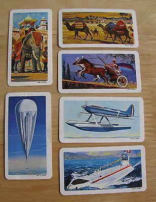 """1218 Lot of 6 """"Transportation through the Ages"""" Brooke Bond Red Rose Tea Cards"""