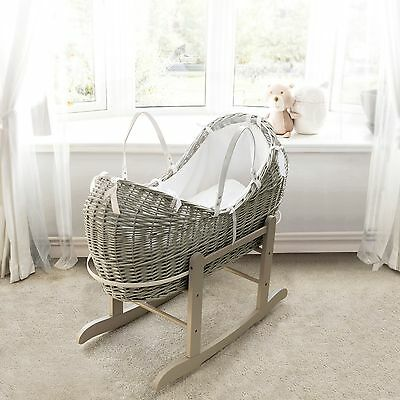 Grey Pod Moses Basket With White Waffle Dressing On Deluxe Grey Rocking Stand