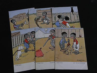 SET OF SIX G.E. SHEPHEARD SIGNED TUCK ETHNIC CHILDREN POSTCARDS - No. 9092.