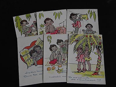 Set Of Six French Signed Ethnic Children Postcards - Comic, Radio, Snake.
