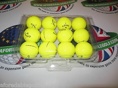 12 Callaway Chrome Soft Hi-Vis Yellow Golf Balls Pearl/pearl 1 Grade