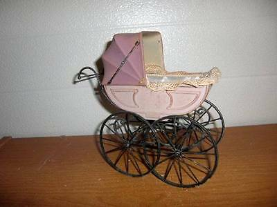 "Unmarked ~ Vintage Doll Buggy Stroller Pram for up to 3-1/2"" Doll"