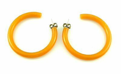 BIG Vintage 1950s 60s Butterscotch Bakelite Hoop Style Pierced EARRINGS