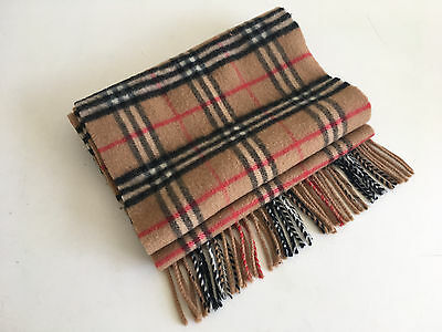 Unisex Burberry London Lambswool Nova Check Long Fringed Scarf