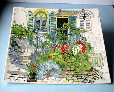 """Gien Paris A Giverny Square Plate 11.5 x 10.5"""" New In Box"""