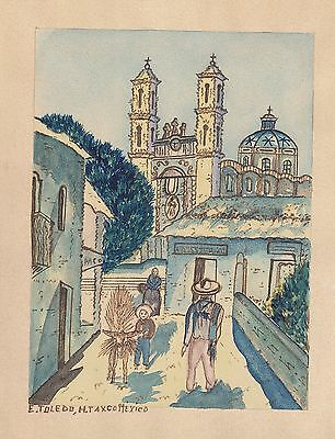 CONTEMPORARY ETHNIC ART Mexico Cityscape Original signed Watercolor Painting