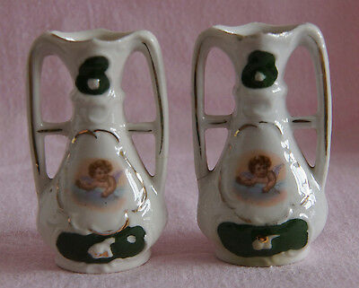 Two Dual Handled Bud Vases With Cherub Child Angel Cloud Design - Damaged