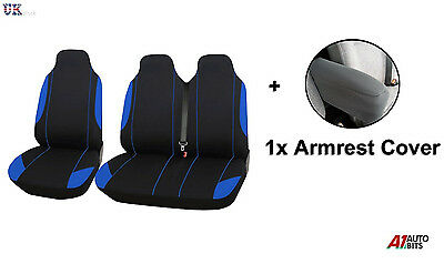 2+1 Blue Black Soft Comfort Fabric Seat & Armrest Covers For Ford Transit Custom