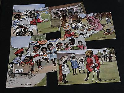 SET OF SIX H. DIX SANDFORD SIGNED TUCK ETHNIC POSTCARDS - CHILDREN - No.9427.