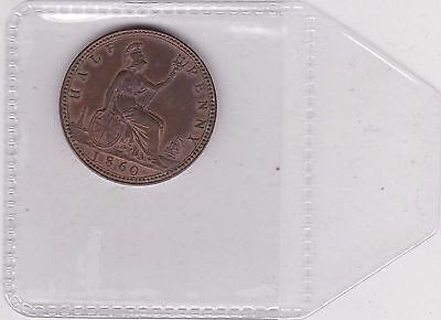 1860 Victoria Beaded Border Half Penny In Extremely Fine Condition