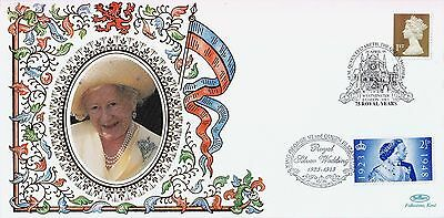 GB BENHAM Silk Cover: 1998 The Queen Mother + London SW1 Cancel