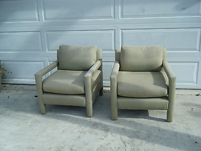 Vintage Mid Century Modern Pair Of Milo Baughman Parson Style Arm Chairs