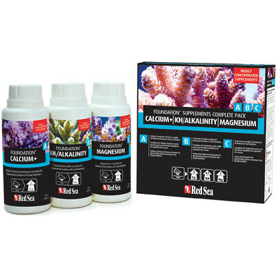Red Sea Foundation A B C Supplements Complete Pack Marine Reef Treatment 3x250ml