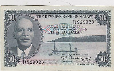 P5 Malawi 50 Tambala 1964 Banknote In Very Fine Or Better Condition