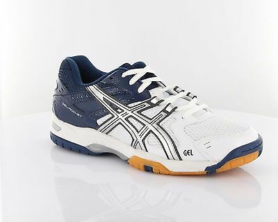 Asics Gel Rocket White/Lightning/Dark Blue Squash Shoes RRP £55