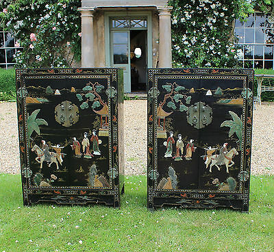 Vintage Pair Chinese Lacquer Cabinets