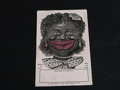 Novelty Ethnic Kissogram Postcard - A Kiss From Your Own Sweet Girl, Valentine's