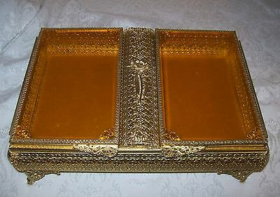 Large Vtg Gold Ormolu Double Panel Beveled Amber Glass Jewelry Casket Vanity Box