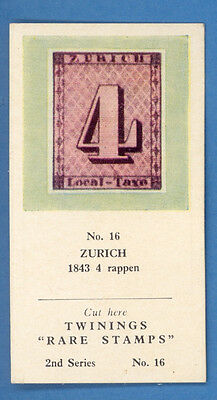 Early Rare Stamp Tea Card 1843 4 Rappen Zurich 3232