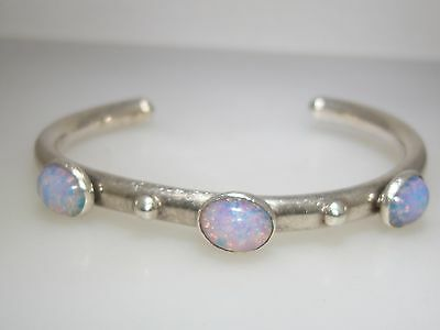 Heavy Vintage Mexico Sterling Silver Foiled Iridescent Glass Opal Bracelet!