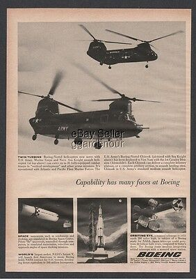 1965 US Army Chinook - Marine Corps USMC Sea Knight Assault Helicopter Boeing Ad