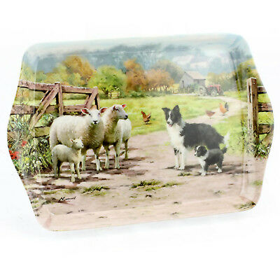 Small Collie and Sheep Art Deco Style Design Melamine Food Meal Serving Tray