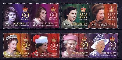 Alderney 2006 Queen's 80th Birthday set fine fresh MNH