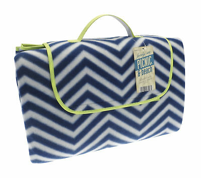 Country Club Jumbo Picnic Beach Blanket Rug Fleece Blue White Waterproof Back